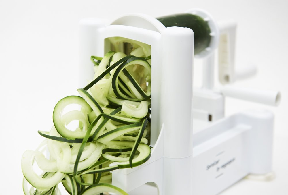 5 Blade Spiralizer - Spiral Slicer, Vegetable Maker, Shredder ! Makes Zucchini Noodles, Veggie Spaghetti, Pasta, and Cut Vegetables in Minutes. Includes Blade Storage Box! by Veggiespize (Image #5)