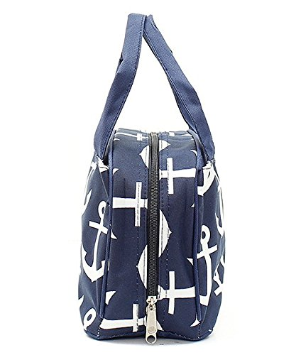 Navy Blue Nautical Anchor Print Canvas Small Insulated Lunch Tote Bag by Handbag Inc (Image #2)