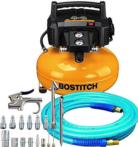 Bundle Includes 3 Items - Bostitch BTFP02012 6 Gallon 150 PSI Oil-Free Compressor and Amflo 12-25E Blue 300 PSI Polyurethane Air Hose AND Campbell Hausfeld 17-Piece Air Tool and Accessory Kit