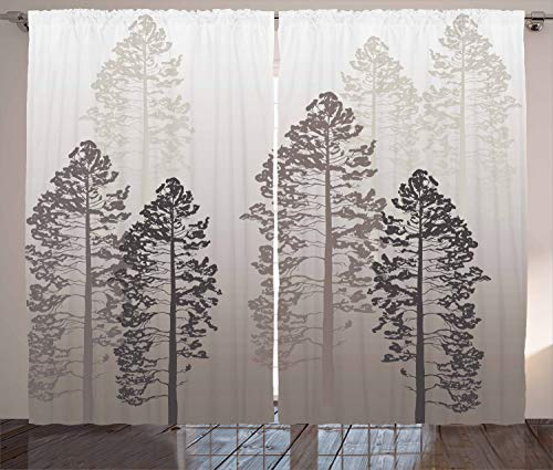 Ambesonne Country Curtains, Pine Trees in The Forest on Foggy Seem Ombre Backdrop Wildlife Adventure Artwork, Living Room Bedroom Window Drapes 2 Panel Set, 108 W X 108 L Inches, Light Yellow