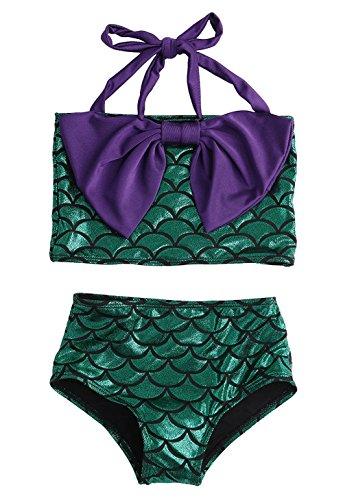 Little Girls 2 Pcs Princess Mermaid Tail Swimmable Bikini Set Bow-knot Swimwear (L=3-4Years)