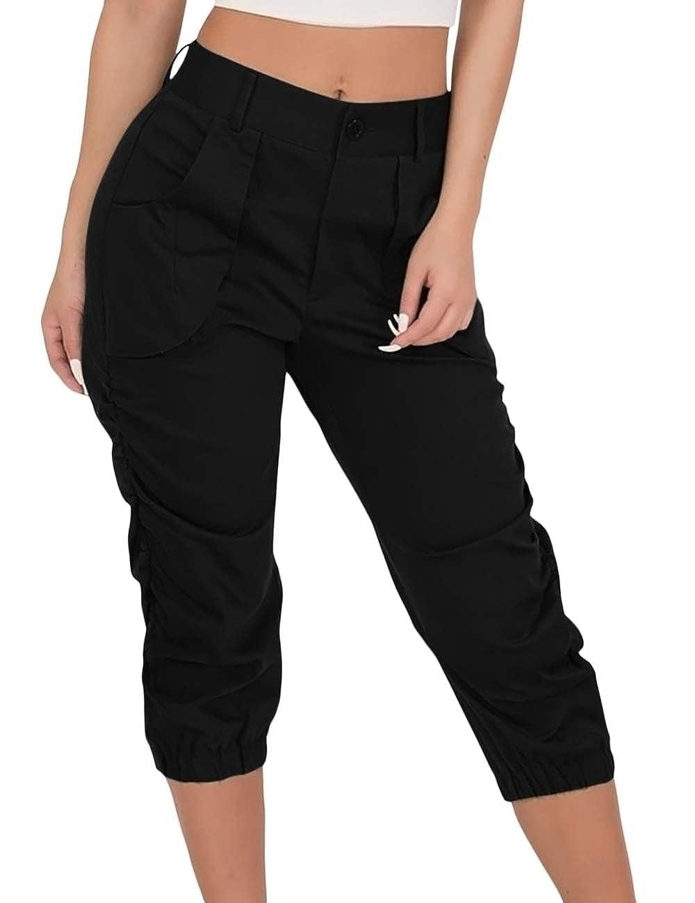 SOMTHRON Donna Casuale Lunghezza al Polpaccio Pantaloni Cargo Magro Pantaloni di Svago