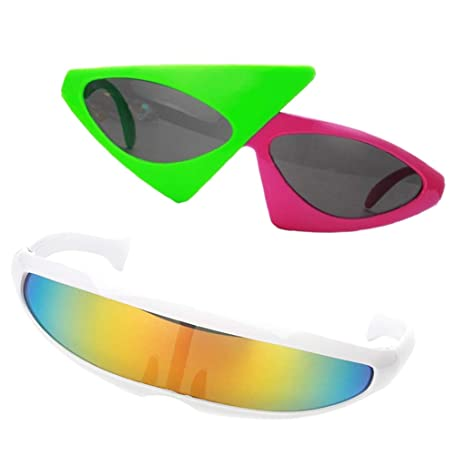 fa8fd746f7 B Baosity Pack of 2pcs Futuristic Narrow Roy Purdy Glasses Funny Party  Sunglasses Fancy Dress Christmas Prop  Amazon.co.uk  Kitchen   Home