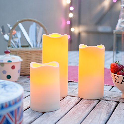 Set of 3 Outdoor Battery Operated LED Flameless Candles with 6 Hour Timer