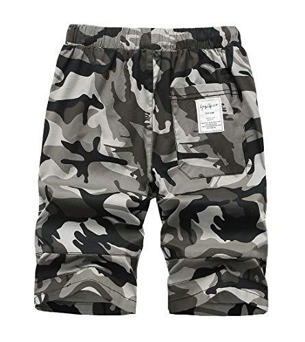 LAUSONS Short Garcon Camouflage - Bermuda Enfant Garçon été - Pantalon Court Militaire Slim Chino Shorts 2