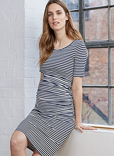 4dcdba0fc913 Isabella Oliver - Jenna Maternity T-Shirt Dress - Navy and Off White Stripes  (