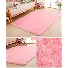 Ultra Soft 4.5cm Thicken Fur Shag Area Rugs Indoor Morden Super Soft Solid Living Room Bedroom Sitting Room Washable Area Rug and Carpets,40x60cm(Pink)