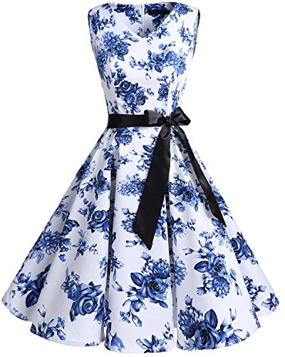 Bridesmay Women's V-Neck Audrey Hepburn 50s Vintage Elegant Floral Rockabilly Swing Cocktail Party Dress White Blue Flower 4XL