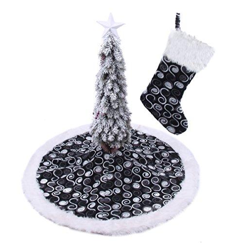 42'' Christmas Tree Skirt and Christmas stocking set black and white - 42' Tree Skirt