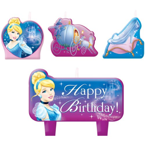 Halloween Costumes Beginning With N (Party Time Disney Cinderella Molded Mini Character Birthday Candle Set, Pack of 4, Blue , 1.25