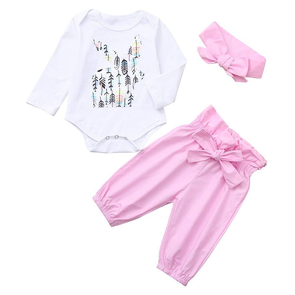 RDTIAN 0-24 Months 3pcs Baby Girls Romper Jumpsuit+Pants+Headband Outfit Clothes
