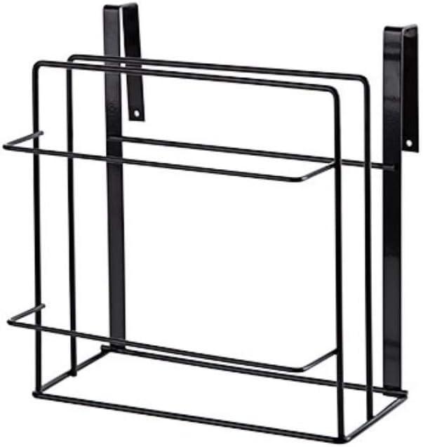 1 PCS toalla de cocina de perforación libre de dos plantas que cubren el panel de hierro forjado el almacenamiento portador silos,negro