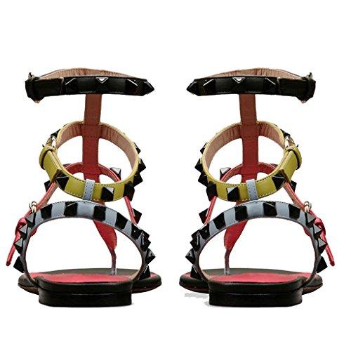 36 Open Infradito Pantofole Rew FF Fondo Toe Donna Da Sandali Sandali Infradito B Rivet E Romane LFF Piatto Scarpe Comodo Hxv68wxq