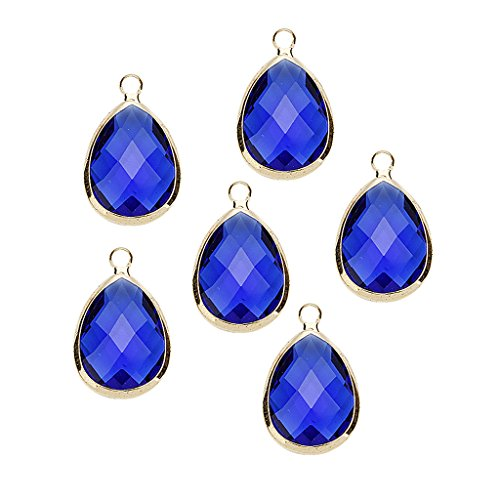 Baoblaze 6 Pieces Wholesale Waterdrop Teardrop Crystal Glass Pendant with Copper Bordure Charm Bulk 4 Colors for Jewelry Making Exceptional Gift - Purplish Blue ()