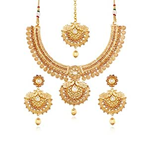 Amazon.com: I Jewels Gold Plated Traditional Jewellery Set