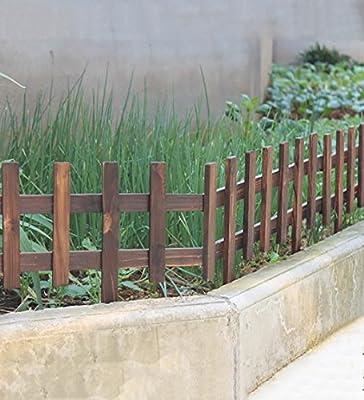 KKCFHUAJIA Carbonizado de Madera sólida Valla de jardín de piquete Paneles de fachada de césped bordillo de cercado Conjunto (Color : YellowX2): Amazon.es: Jardín