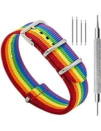 Watch Bands NATO Premium Ballistic Nylon Watch Strap Stainless Steel Buckle (Rainbow, 20mm)