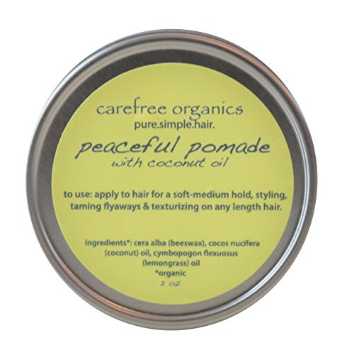 Pomade Organics (Organic Pomade - Peaceful Pomade (with beeswax and coconut oil) 1 oz - 100% Organic, Preservative Free, and Non Toxic! A Carefree Organics Product.)