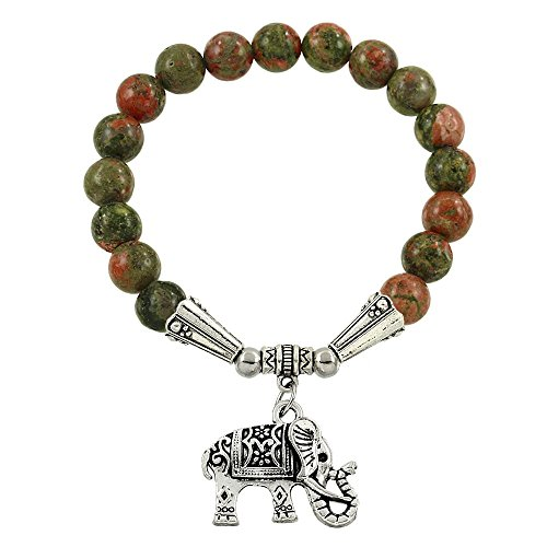 Falari Elephant Lucky Charm Natural Stone Bracelet Unakite B2448-UK (Prayers For Unborn Babies In The Womb)