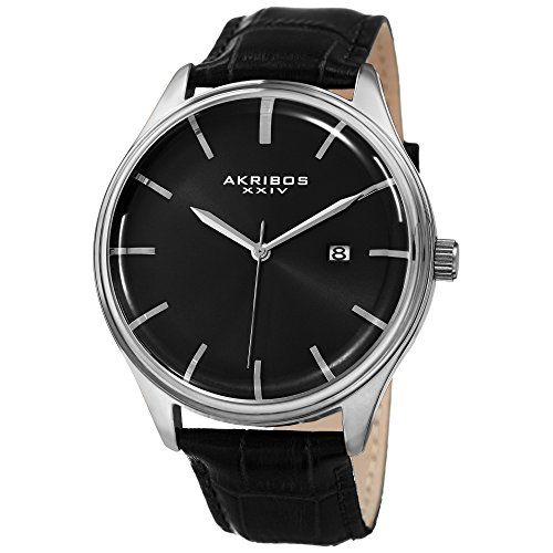 Akribos XXIV Men's Quartz Silver-Tone Case with Black Sunray Dial and Silver-Tone Hands on Black Alligator Embossed Genuine Leather Strap Watch (Black Genuine Alligator)