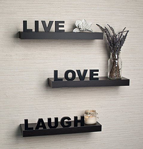 Danya B YU075 Live, Love, Laugh Wall Shelves (Set of 3), (Live Love Laugh Wall)