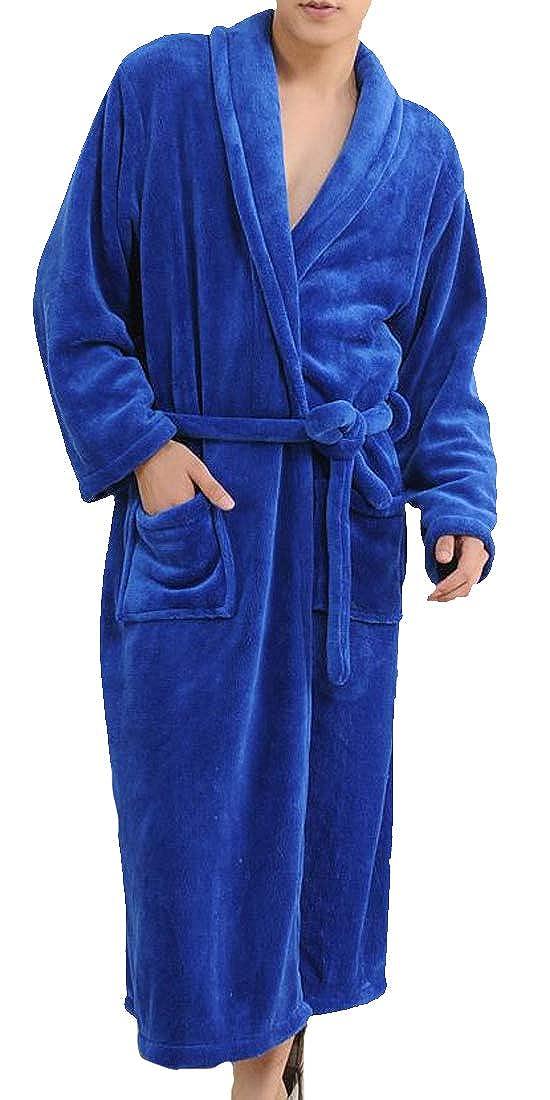 C/&H Mens Loungewear Flannel Thicken Bathrobe Sleepwear Robes
