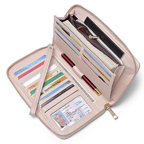 apacity Leather Zipper Around Clutch Card Holder Organizer Ladies Travel Purse with Removable Wristlet Strap pink ()