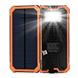 Elzle Solar Charger 15000mAh, Portable Solar Power Bank Dual USB Backup Battery Pack Charger, Outdoor Solar Phone External Battery Charger With 6 Led Flashlight For iPhone Series, Smart Phone, More