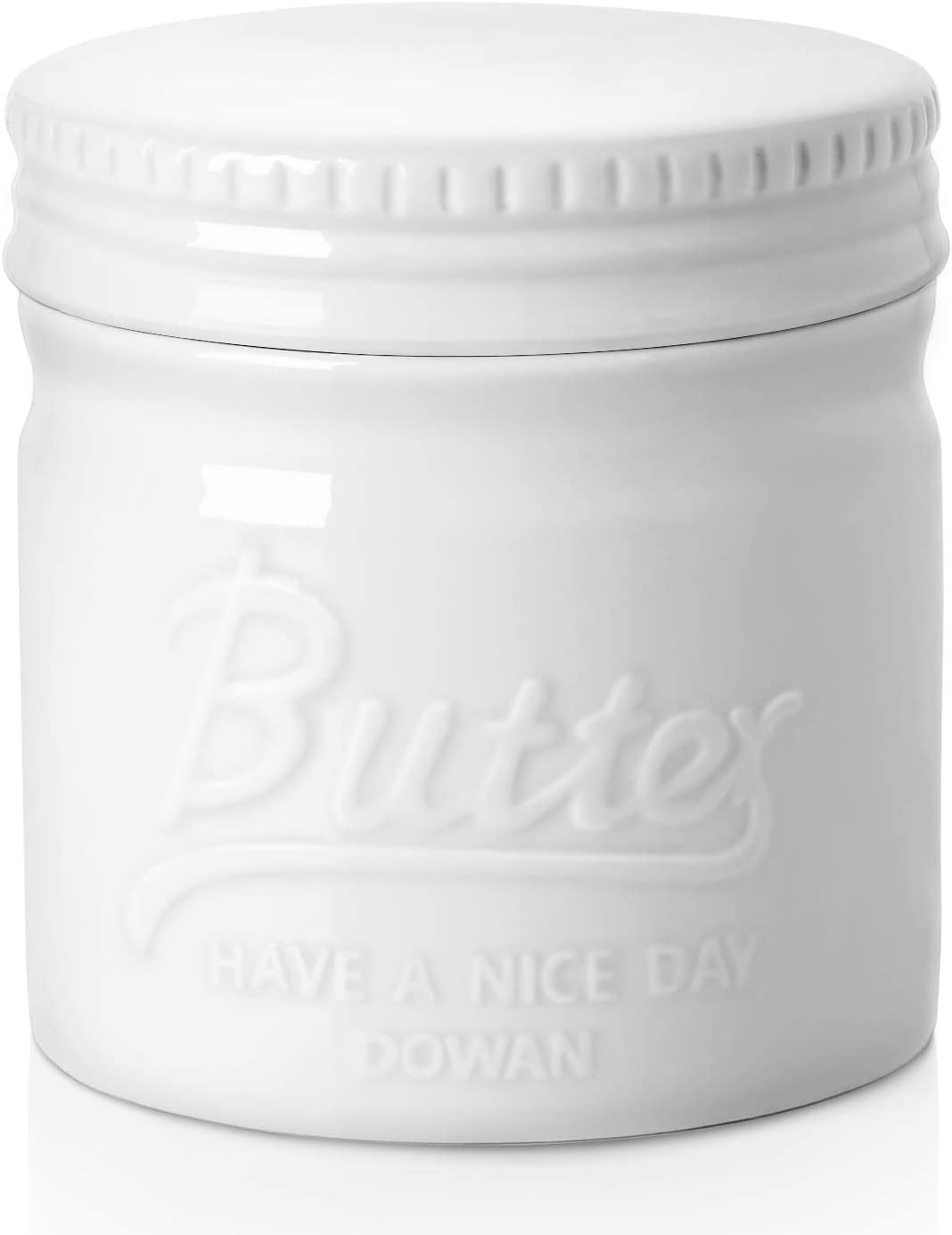 DOWAN Porcelain Butter Keeper Crock, Mason Jar Style Butter Crock, French Butter Dish with Lid, Embossed Butter Container for Soft Butter, White