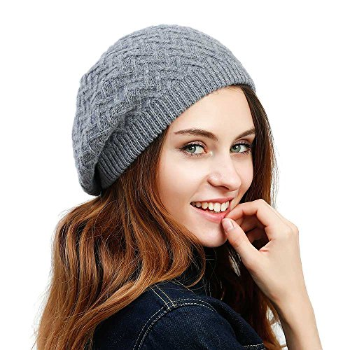 JULY SHEEP Women's Knitted Beret hat wool Braided hat French Beret for Winter Autumn