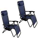 Oshion 1 Pair Zero Gravity Chairs Black Lounge Patio Chairs Outdoor Yard Beach New (Blue)