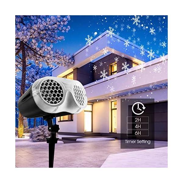 Proiettore Luci Natale LED, FOCHEA Proiettore Fiocchi di Neve Esterno e Interno Impermeabile con Telecomando RF per Decorazioni da Natale, Halloween, Matrimonio, Giardino 5 spesavip