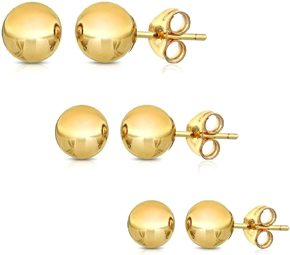 14K Solid Gold Ball Stud Earrings (3-Pair-Pack) 3MM 4MM and 5MM - Choose a Color