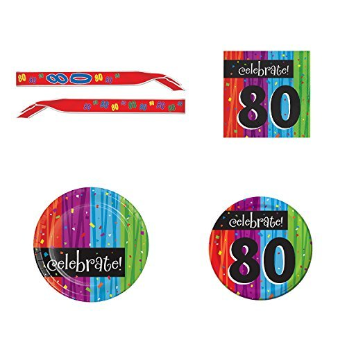 80th Birthday Party Supply Kit for 16 guests: Bundle Includes Dinner Plates, Dessert Plates, Napkins, and Birthday Sash
