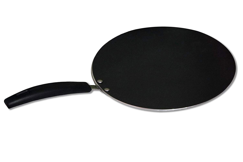 Bioexcel Non stick Hard-Anodized Tawa – Ideal To Make Roti/Chapati / Paratha – Flat Dosa Tawa Griddle 10.25 Inch – Black