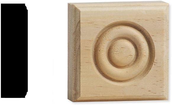 DecraMold DM R2751 7//8 in x 2-3//4 in Solid Pine Button Style Rosette Corner Block x 2-3//4 in