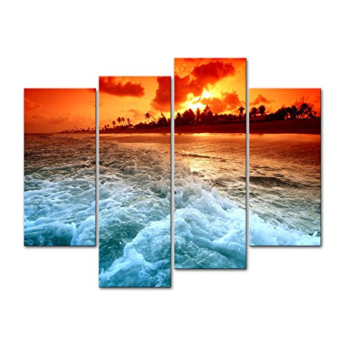 Canvas Print Wall Art Decor Seascape Picture Sunset Beach Pictures Sea Wave Artwork Tropical Scenery Poster Prints Stretched On Wooden Frame 4 Panel Image for Home Living Room Office -
