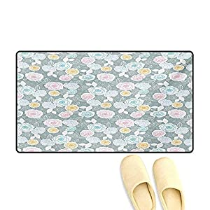 Door Mats,Ornate Hand Drawn Flourish Pattern Floral Swirls Blooms Spring Yard Themed Artistic,Customize Bath Mat with Non Slip Backing,Multicolor