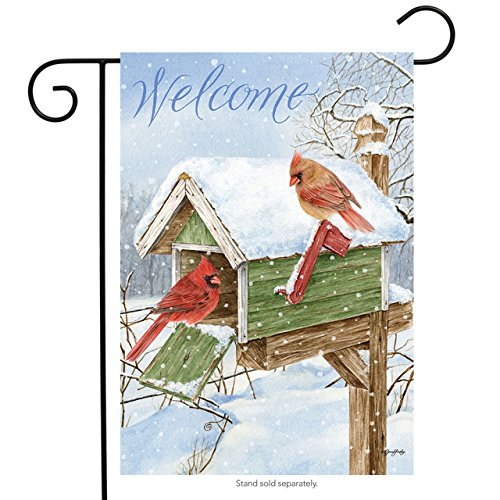 "Cardinal Mailbox Winter Garden Flag Welcome Birds 12.5"" x 18"