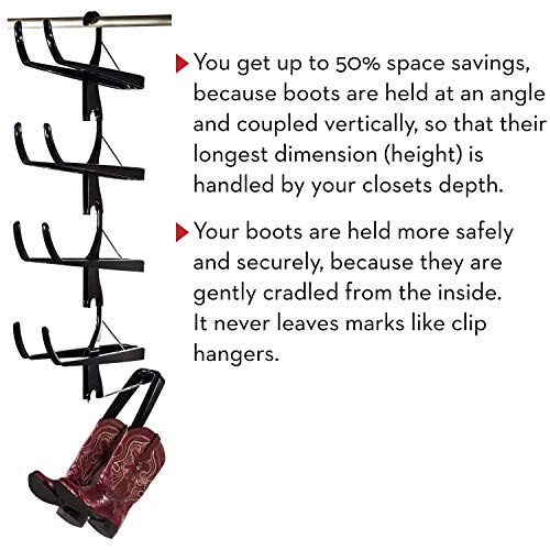 Boot Butler Boot Storage Rack As Seen On Rachael Ray – Clean Up Your Closet Floor with Hanging Boot Storage – Easy to Assemble & Built to Last – 5-Pair Hanger Organizer & Shaper/Tree