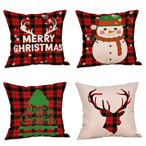 4 Pack Christmas Red Buffalo Check Plaid Throw Pillow Covers Winter Deer Xmas Tree Snowman Merry Christmas Decorative Cushion Covers Cotton Linen 18 X 18 Inch Rustic Farmhouse Home Sofa Decor (Snowman Check)