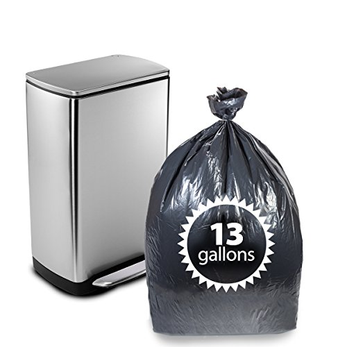 "Tall Kitchen Trash Bags Black 13 Gallon By Primode – 200 Count Heavy Duty Garbage Bag 24"" X 31"" MADE IN THE USA"