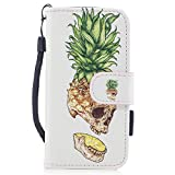 iPhone 5/5S/SE Wallet Case, Gxia Folio Flip Case Cover Magnetic Stand Function with Card Slots/Cash Compartment for Apple iPhone 5/5S/SE - Ananas
