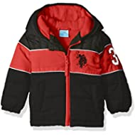 U.S. Polo Assn. Boys' Bubble Jacket (More Styles Available), Black Red Stripe, 12M