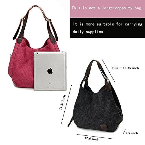 Women's Everyday Casual Shoulder Bags - Canvas Hobo Handbag Cotton Totes Purses Grey by Dzzzzc (Image #1)