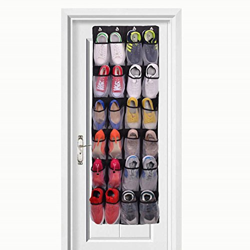 Over The Door Shoe Organizer - 24 Mesh Pockets,Hanging Shoe Organizer For Large Shoes, 4 Complete With Customized Metal Closet Door Shoe Organizer Hooks ()