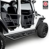 Hooke Road Steel Running Boards Side Steps Nerf Bars for 2007-2018 Jeep Wrangler JK Unlimited 4-Door