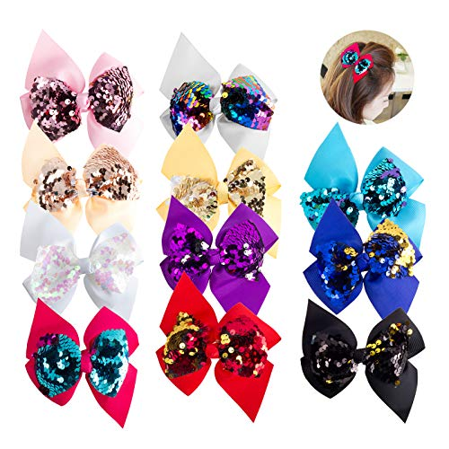U_star 12 Pieces 4.5 inch Reversible Sequin Bows With Clips Sequin Bling Big Clips Colorful Sequin Hair Bows for Baby Women Girls Party Dress, 12 - Reversible Kids Dress