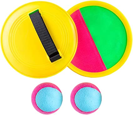 XIZHI 2 Pack Disc Toss and Catch Ball Game Paddle Ball Game Set Flying Disc Toy Family Camping Game for Kids Adult Indoor Backyard Beach Game