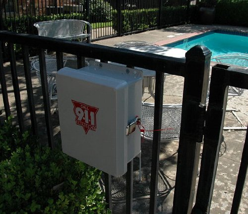 Emergency Pool Phone - 911 Only Cellphone with Weatherproof Outdoor Enclosure Phone Box Cabinet (Weatherproof Phone Enclosure)